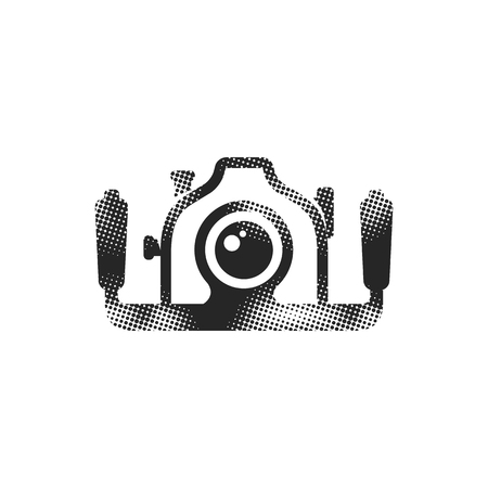 Underwater camera icon in halftone style. Black and white monochrome vector illustration.