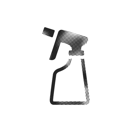 Sprayer bottle icon in halftone style. Black and white monochrome vector illustration.