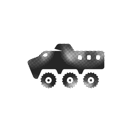 Armored vehicle icon in halftone style. Black and white monochrome vector illustration.
