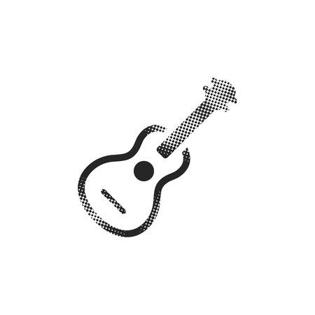 Guitar icon in halftone style. Black and white monochrome vector illustration.
