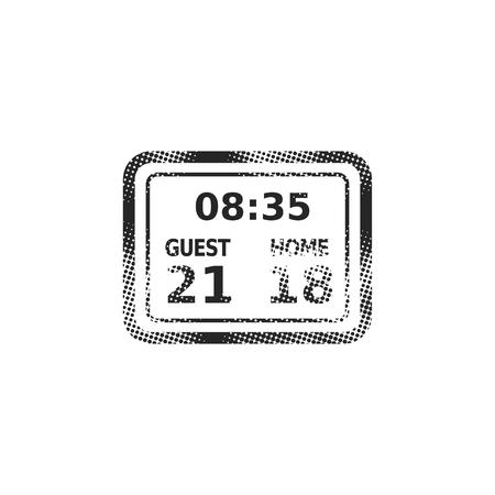 Score board icon in halftone style. Black and white monochrome vector illustration.