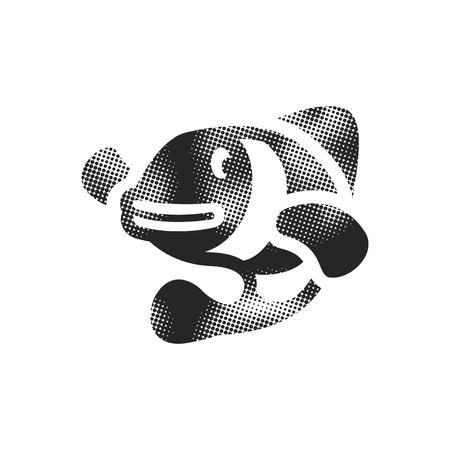 Clown fish icon in halftone style. Black and white monochrome vector illustration.