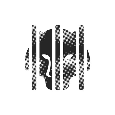 Caged animal icon in halftone style. Black and white monochrome vector illustration.