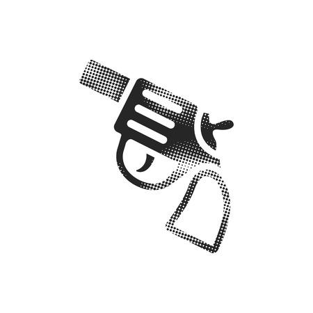 Revolver gun icon in halftone style. Black and white monochrome vector illustration.