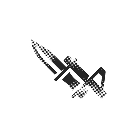Bayonet knife icon in halftone style. Black and white monochrome vector illustration.  イラスト・ベクター素材