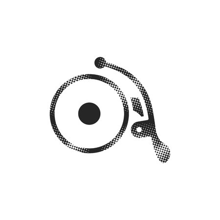 Bicycle bell icon in halftone style. Black and white monochrome vector illustration.