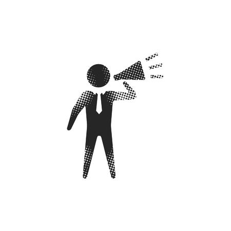 Businessman loudspeaker icon in halftone style. Black and white monochrome vector illustration. Illustration