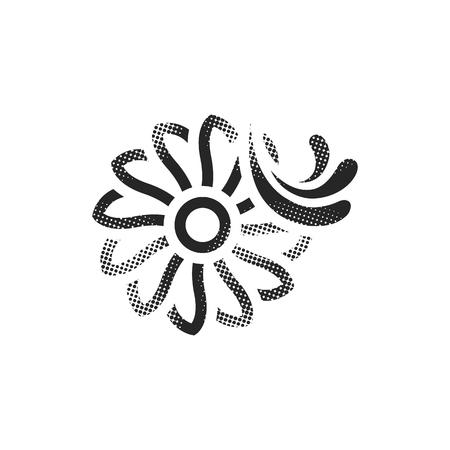 Water turbine icon in halftone style. Black and white monochrome vector illustration.