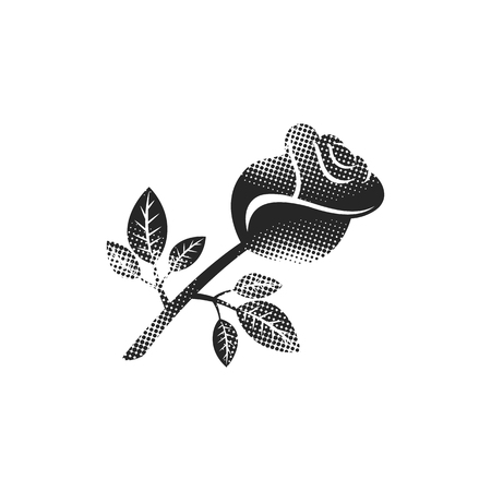 Rose icon in halftone style. Black and white monochrome vector illustration.