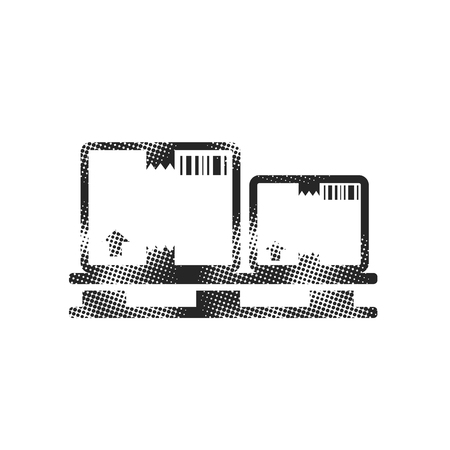 Logistic box icon in halftone style. Black and white monochrome vector illustration.