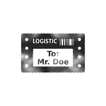 Logistic receipt icon in halftone style. Black and white monochrome vector illustration.