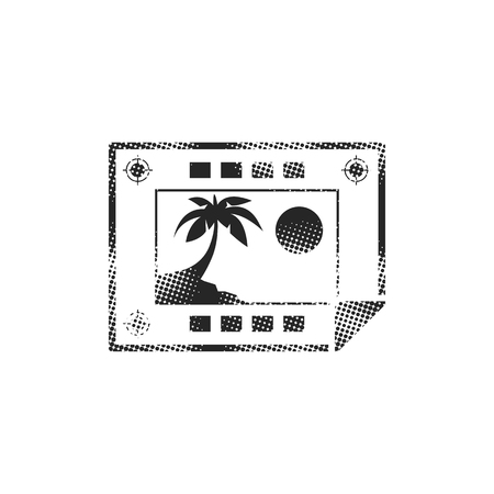 Print proof  icon in halftone style. Black and white monochrome vector illustration.