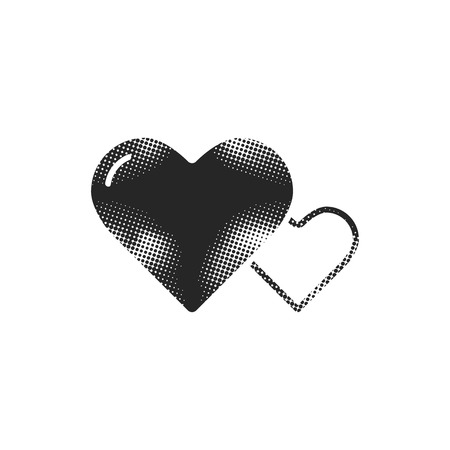Heart shape icon in halftone style. Black and white monochrome vector illustration.
