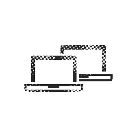 Laptops icon in halftone style. Black and white monochrome vector illustration.