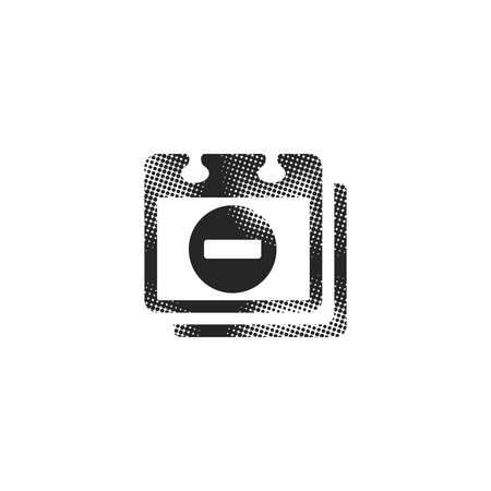 Unavailable label icon in halftone style. Black and white monochrome vector illustration. Illustration