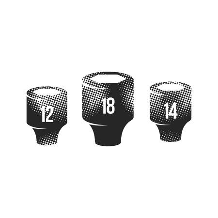 Icônes de clé à douille dans le style de demi-teintes. Service d'entretien de véhicules automobiles. Illustration vectorielle monochrome noir et blanc.