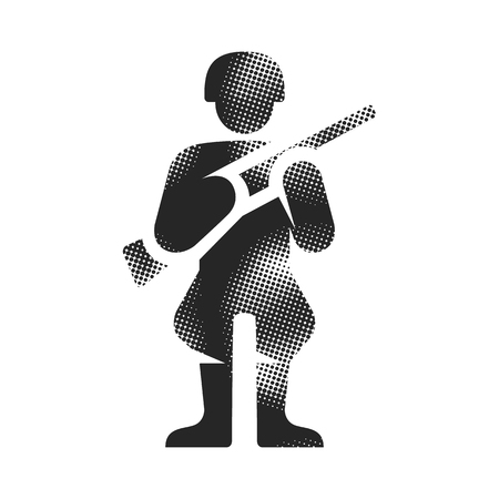 World War army icon in halftone style. Black and white monochrome vector illustration. Illustration