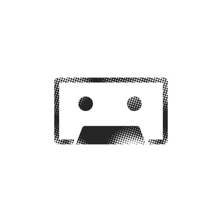 Tape cassette icon in halftone style. Black and white monochrome vector illustration. Иллюстрация