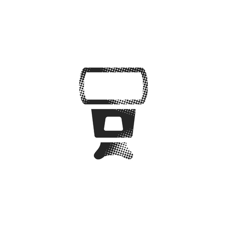 Camera flash icon in halftone style. Black and white monochrome vector illustration.