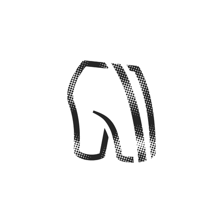 Cycling pants icon in halftone style. Black and white monochrome vector illustration.