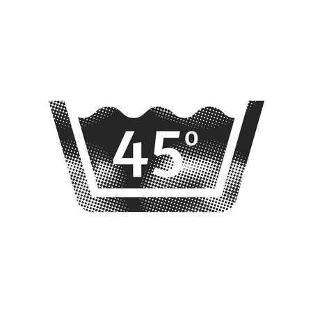 Washing temperature icon in halftone style. Black and white monochrome vector illustration. Иллюстрация