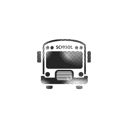 School bus icon in halftone style. Black and white monochrome vector illustration.