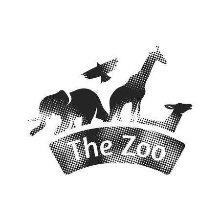 Zoo gate icon in halftone style. Black and white monochrome vector illustration. Illustration