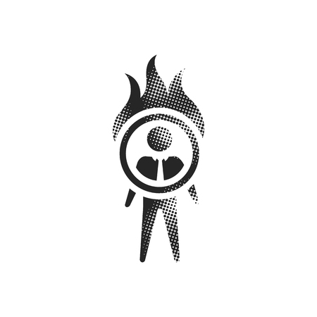 Businessman challenge icon in halftone style. Black and white monochrome vector illustration. Vetores