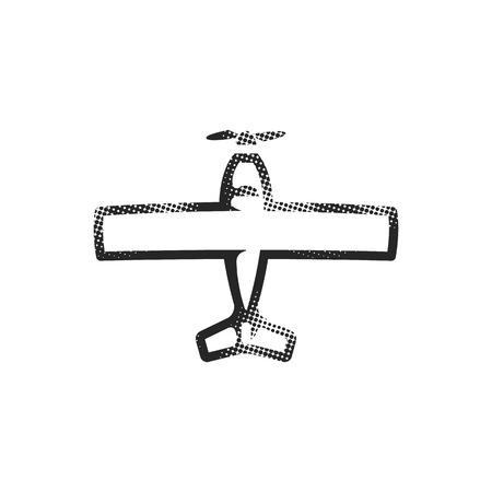 Vintage Airplane icon in halftone style. Black and white monochrome vector illustration. Vektoros illusztráció