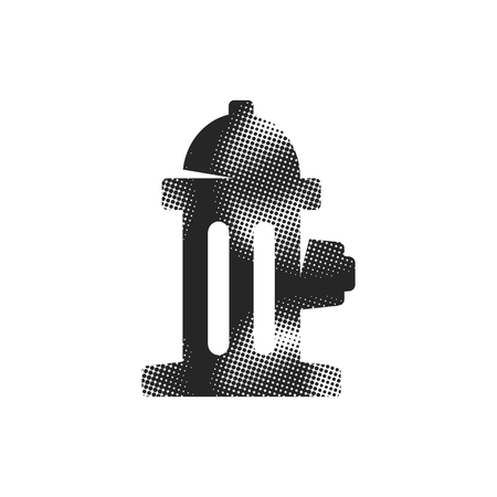 Hydrant icon in halftone style. Black and white monochrome vector illustration.