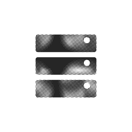 Datenbanksymbol im Halbtonstil. Schwarzweiss-Schwarzweißvektorillustration.