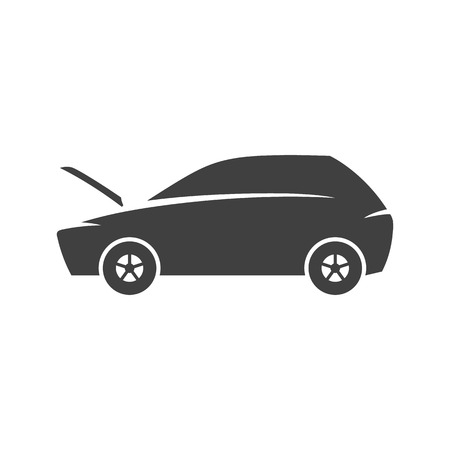 Car with hood open icons in black and white. Automotive vehicle maintenance service. Vector illustrations. Stock Illustratie