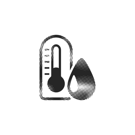 Thermometer icon in halftone style. Black and white monochrome vector illustration.  イラスト・ベクター素材