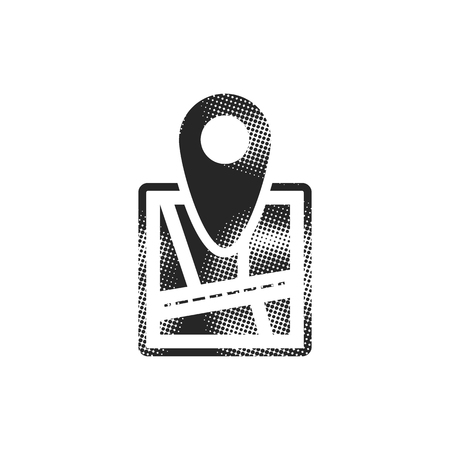 Pin location map icon in halftone style. Black and white monochrome vector illustration. Ilustracja