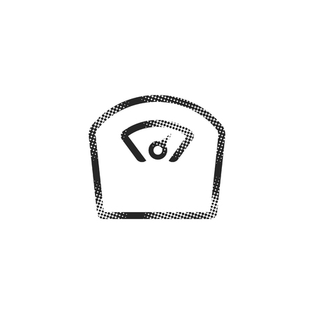 Fishing scale icon in halftone style. Black and white monochrome vector illustration.