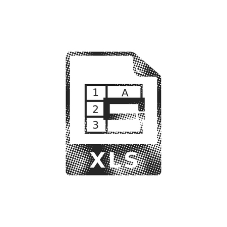 Spreadsheet file icon in halftone style. Black and white monochrome vector illustration. Иллюстрация