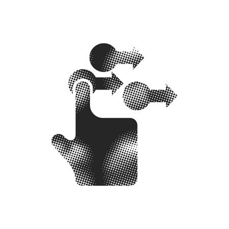 Finger gesture icon in halftone style. Black and white monochrome vector illustration.