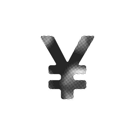 Japan Yen symbol icon in halftone style. Black and white monochrome vector illustration.