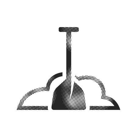Snow and shovel icon in halftone style. Black and white monochrome vector illustration. Çizim