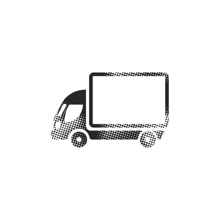 Truck icon in halftone style. Black and white monochrome vector illustration. Vectores