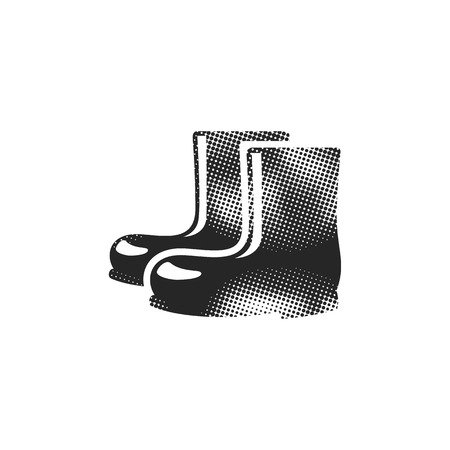 Wet boots icon in halftone style. Black and white monochrome vector illustration. Illustration