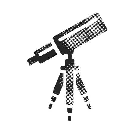 Telescope icon in halftone style. Black and white monochrome vector illustration.