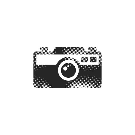 Range finder camera icon in halftone style. Black and white monochrome vector illustration. Illustration