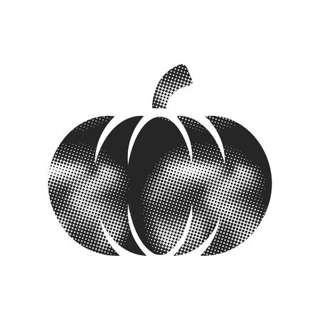 Pumpkin icon in halftone style. Black and white monochrome vector illustration.