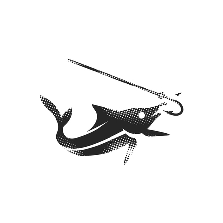 Hooked fish icon in halftone style. Black and white monochrome vector illustration. Vecteurs