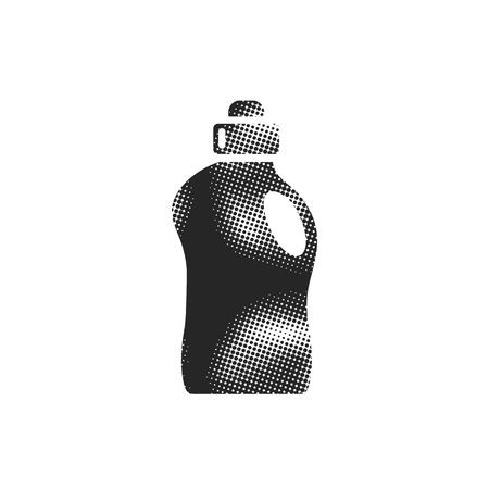 Detergent bottle icon in halftone style. Black and white monochrome vector illustration. Иллюстрация