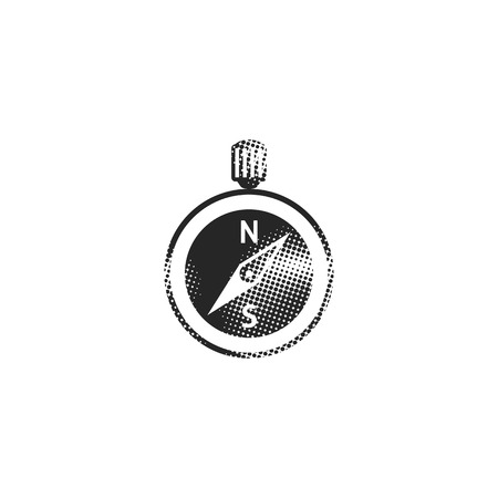 Compass icon in halftone style. Black and white monochrome vector illustration.