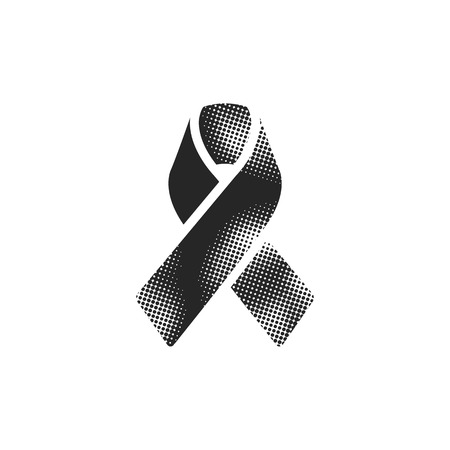 Awareness band icon in halftone style. Black and white monochrome vector illustration.