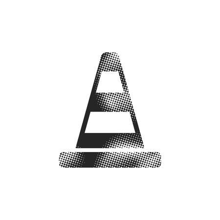 Road sign cone icon in halftone style. Black and white monochrome vector illustration. Illustration