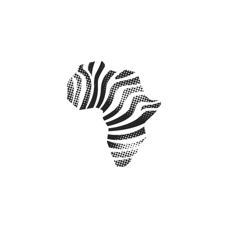 Africa map striped icon in halftone style. Black and white monochrome vector illustration.